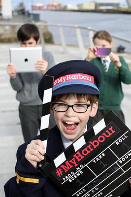 Press Eye - Belfast - Northern Ireland - 11thth April 2016 Photographer Darren Kidd  / Press Eye Local primary school pupils, Maeve Cullen, Finn Heavern and Benjamin Griffiths get in focus to help launch the #MyHarbour competition, which calls for all tech-savvy schoolchildren from across Northern Ireland to put their screen skills to the ultimate test.