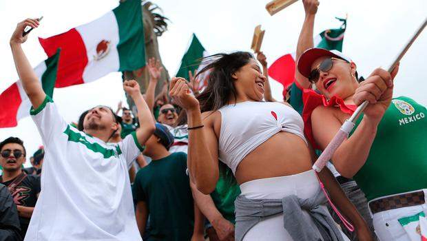 *** BESTPIX *** TIJUANA, MEXICO - JUNE 23:  Mexico fans celebrate after their 2-1 victory over South Korea during the World Cup on June 23, 2018 in Tijuana, Mexico. (Photo by Mario Tama/Getty Images)