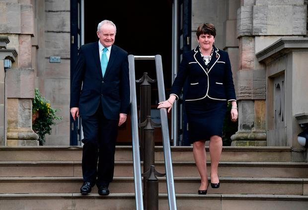 Martin McGuinness and Arlene Foster at Stormont in 2016