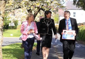 ©/Presseye.com - 5th May 2016.  Press Eye Ltd - Northern Ireland   Picture by Presseye.com DUP Leader, Arlene Foster, with friend Rhona McMahon and party collegue Paul Robinson arriving at Brookeborough Controlled Primary School to cast her vote in today's  Assembly Election.