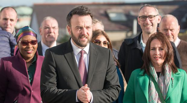 SDLP Party leader Colum Eastwood pictured at the press conference in Derry on Wednesday. Picture Martin McKeown. 30.10.19