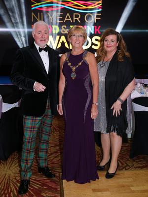 Press Eye - Belfast - Northern Ireland - 2nd February 2017 -    NI Year of Food & Drink Awards at the Culloden Hotel.  Terence Brannigan, Chairman of Tourism NI, Ald. Hilary McClintock, Mayor Derry City and Strabane District Council and Mary Blake, Tourism Manager Derry City and Strabane District Council, pictured at the NI Year of Food & Drink Awards at the Culloden Hotel.  Photo by Kelvin Boyes / Press Eye.