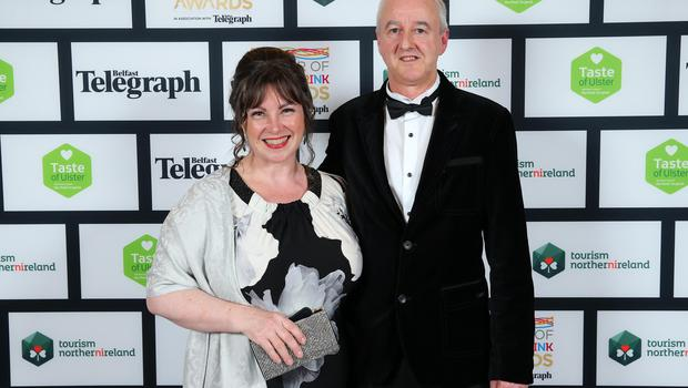 Press Eye - Belfast - Northern Ireland - 2nd February 2017 -    NI Year of Food & Drink Awards at the Culloden Hotel.  Caroline Redmond and Stephen McMurray pictured at the NI Year of Food & Drink Awards at the Culloden Hotel.  Photo by Kelvin Boyes / Press Eye.