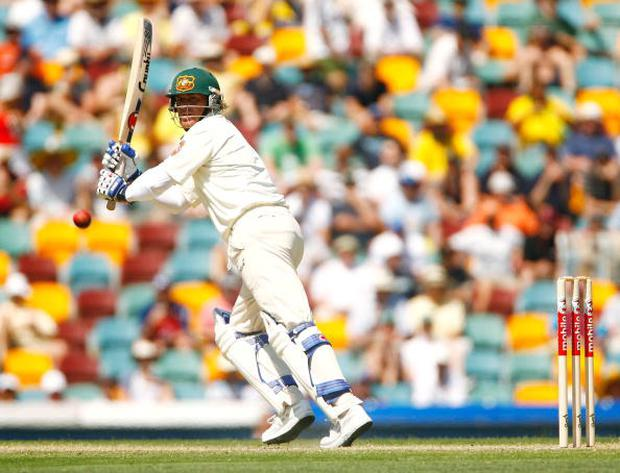 Shane Warne of Australia works a ball to leg during day two of the first Ashes Test Match between Australia and England at The Gabba on November 24, 2006 in Brisbane