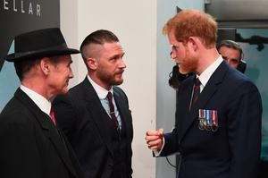 Prince Harry meets Mark Rylance and Tom Hardy as he attends the world premiere of Christopher Nolan's epic Second World War movie Dunkirk at the Odeon Leicester Square in London. PRESS ASSOCIATION Photo. Picture date: Thursday July 13, 2017. See PA story SHOWBIZ Dunkirk. Photo credit should read: Eamonn M McCormack/PA Wire