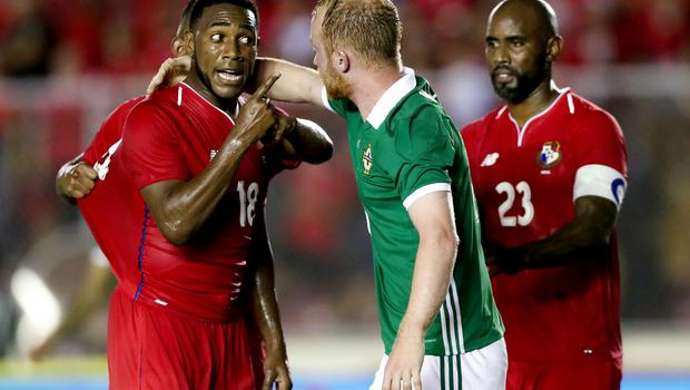 Press Eye - Belfast -  Northern Ireland - 29th May 2018 - Photo by William Cherry/Presseye  Panama's Luis Tejada with Northern Ireland's Liam Boyce during Wednesday nights International Friendly at the Estadio Rommel Fernandez, Panama City.