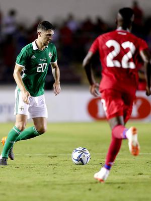 Press Eye - Belfast -  Northern Ireland - 29th May 2018 - Photo by William Cherry/Presseye  Panama's Jose Luis Rodrguez with Northern Ireland's Craig Cathcart during Wednesday nights International Friendly at the Estadio Rommel Fernandez, Panama City.