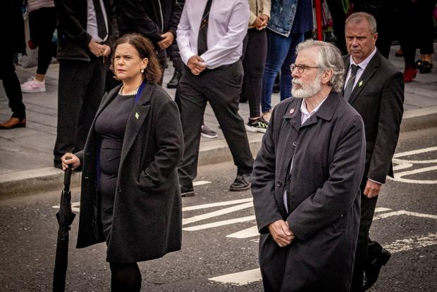 Mary Lou McDonald and Gerry Adams as the funeral of Bobby Storey takes place in Andersonstown, west Belfast on June 30th 2020 (Photo by Kevin Scott for Belfast Telegraph)