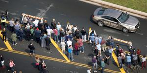 "Media and fans gathered outside of Paisley Park Studios in Chanhassen, Minn. Thursday, April 21, 2016. Prince, widely acclaimed as one of the most inventive and influential musicians of his era with hits including ""Little Red Corvette,"" ''Let's Go Crazy"" and ""When Doves Cry,"" was found dead at his home on Thursday, according to his publicist. He was 57.  (Carlos Gonzalez/Star Tribune via AP)"