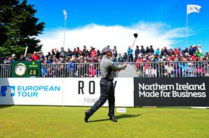 NEWCASTLE, NORTHERN IRELAND - MAY 29:  Lee Westwood of England plays his tee shot on the first tee under an umbrella during the second round of the Dubai Duty Free Irish Open hosted by the Rory Foundation at Royal County Down Golf Club on May 29, 2015 in Newcastle, Northern Ireland. (Photo by Mark Runnacles/Getty Images)