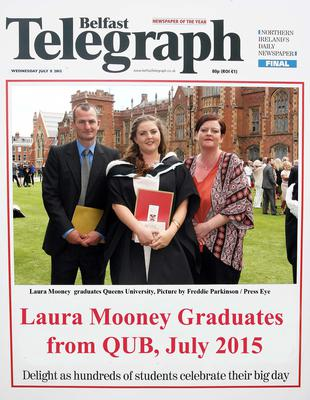 Mandatory Credit - Picture by Freddie Parkinson/Press Eye ? Wednesday 8th July 2015 Graduations Queen University Belfast. Laura Mooney from Derry graduated at Queens University Belfast in Criminology.
