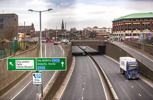 The Westlink in west Belfast at 8:45am as Belfast goes into its first day of lockdown on March 24th 2020 (Photo by Kevin Scott for Belfast Telegraph)