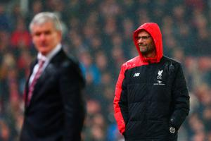 STOKE ON TRENT, ENGLAND - JANUARY 05:  Jurgen Klopp the Manager of Liverpool looks on during the Capital One Cup semi final, first leg match between Stoke City and Liverpool at the Britannia Stadium on January 5, 2016 in Stoke on Trent, England.  (Photo by Clive Mason/Getty Images)
