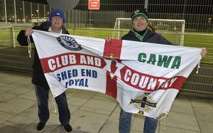 12th November 2020 Northern Ireland fans pictured as they arrive at the National Stadium in Belfast ahead of tonights game against Slovakia Rodney Cardwell from Lurgan and David Stewart from Belfast. Mandatory Credit : Stephen Hamilton