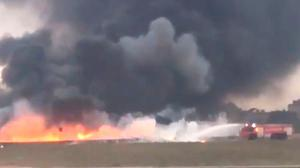 Undated handout video grab taken with permission from the Twitter feed of Ed De Gaetano/@eddydeg of a plane which crashed on take-off from Malta International Airport, killing all five people on board officials said. PRESS ASSOCIATION Photo. Issue date: Monday October 24, 2016. The twin-prop Metroliner tipped towards the right, crashed into the ground and burst into flames shorly after taking off at 7.20am local time on Monday, eyewitnesses said. See PA story AIR Malta. Photo credit should read: Ed De Gaetano/@eddydeg/Twitter/PA Wire  NOTE TO EDITORS: This handout photo may only be used in for editorial reporting purposes for the contemporaneous illustration of events, things or the people in the image or facts mentioned in the caption. Reuse of the picture may require further permission from the copyright holder.