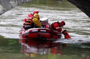 File photo dated 5/10/2012 of Search and rescue teams continuing their search on the River Dyfi in Machynlleth, Mid Wales, for missing five-year-old April Jones. Former slaughterhouse worker Mark Bridger has been found guilty of abducting and murdering schoolgirl April Jones