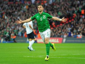LONDON, ENGLAND - MAY 29:  Shane Long of the Republic of Ireland celebrates as he scores their first goal during the International Friendly match between England and the Republic of Ireland at Wembley Stadium on May 29, 2013 in London, England.  (Photo by Mike Hewitt/Getty Images)