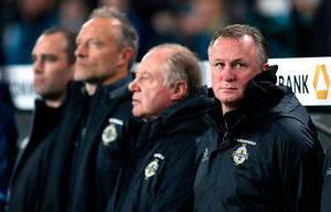 Northern Ireland's manager Michael O'Neill during the 2018 FIFA World Cup Qualifying match at the HDI Arena, Hannover. PA