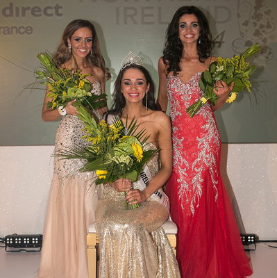 Rebekah Shirley, aged 18 from Ballymoney has been crowned the 2014 Open + Direct Miss Northern Ireland winner at a glittering black tie event at the Europa Hotel, Belfast on Monday 12th May. Top finalists on the night included Anna Henry, aged 19 from Portglenone who came second and Sophia Adli, aged 22 from Belfast who was placed third in the contest.