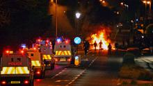 Police confront rioters in the Ballysally area of Coleraine late on Friday evening. Picture Kevin McAuley/McAuley Multimedia