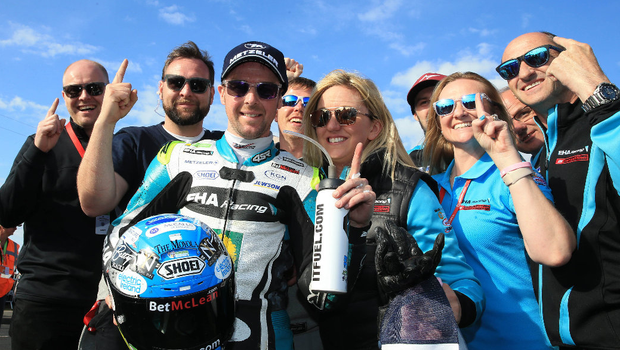 Number one: Alastair Seeley celebrates Supersport success with his EHA Yamaha team