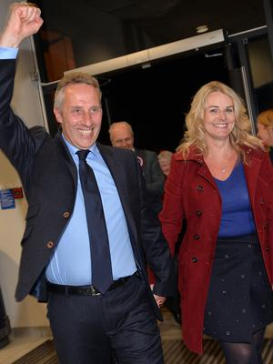 PACEMAKER, BELFAST, 8/5/2015: Ian Paisley arrives at the North Antrim constituency count in Ballymena with his wife, Fiona. PICTURE BY STEPHEN DAVISON