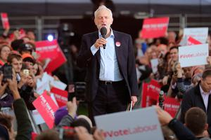 BIRMINGHAM, ENGLAND - JUNE 06:  Labour Leader Jeremy Corbyn delivers a speech during an open air rally in New Canal Street on June 6, 2017 in Birmingham, United Kingdom. Political parties continue to campaign across the country ahead of the general election on Thursday.  (Photo by Christopher Furlong/Getty Images)