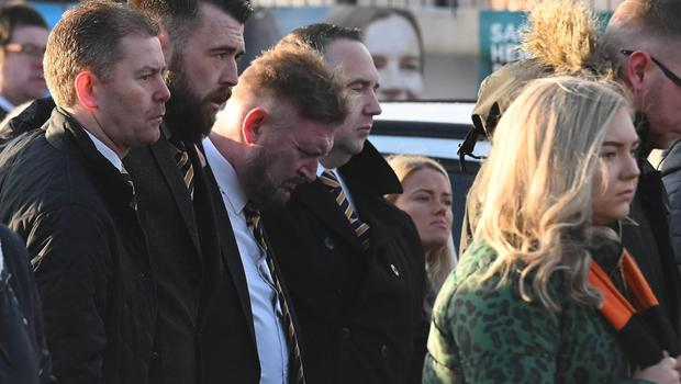 Pacemaker Press 14/12/19 Carrick Manager Niall Currie  during The Funeral of Irish League Footballer Jerry Thompson at Sacred Heart Church  in Belfast. The north Belfast man passed away suddenly on Tuesday. A popular figure in local football, Jerry also played for Portadown, Larne, Donegal Celtic and Clifonville Olympic. Pic Colm Lenaghan/Pacemaker