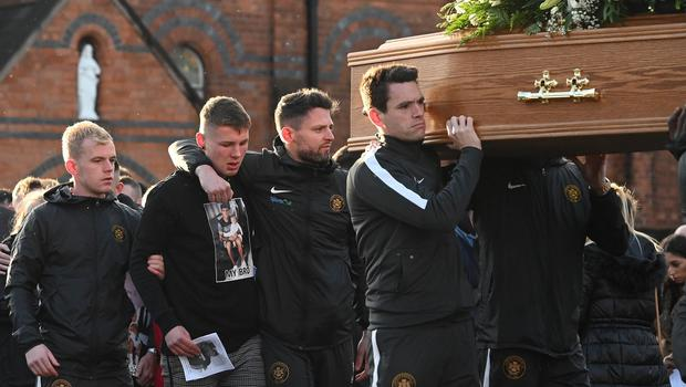 Pacemaker Press 14/12/19 Carrick Captain Mark Surgenor  at The Funeral of Irish League Footballer Jerry Thompson at Sacred Heart Church  in Belfast. The north Belfast man passed away suddenly on Tuesday. A popular figure in local football, Jerry also played for Portadown, Larne, Donegal Celtic and Clifonville Olympic. Pic Colm Lenaghan/Pacemaker