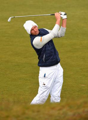 NEWCASTLE, NORTHERN IRELAND - MAY 29:  Marcel Siem of Germany hits his 2nd shot on the 13th hole during the Second Round of the Dubai Duty Free Irish Open Hosted by the Rory Foundation at Royal County Down Golf Club on May 29, 2015 in Newcastle, Northern Ireland.  (Photo by Ross Kinnaird/Getty Images)