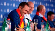 All smiles: Sergio Garcia enjoys a laugh at the press conference
