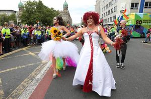 Press Eye - Belfast - Northern Ireland - 1st August 2015 -   Thousands of people take part in the annual Belfast Gay Pride event in Belfast city centre celebrating Northern Ireland??s LGBT community.  Organisers claim there was a larger than normal turnout in the wake of the recent same-sex marriage referendum in the Republic of Ireland.  Picture by Kelvin Boyes / Press Eye.