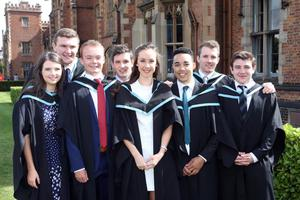 Queens University Environmental Planning graduates (L-R) Laura Conway (Armagh), Matthew Doak (Londonderry), Niall Boyd (Belfast), Conor McGarry (Ballycastle), Kerry Campbell (Armagh), John Murray (Larne), Diarmuid Mazarie (Newcastle) and Eoin Mulvaney (Newry) celebrate their graduation from Queens School of Planning, Architecture and Civil Engineering. Photo/Paul McErlane
