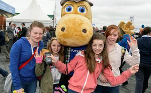 First day of the Balmoral Show in partnership with Ulster Bank at Balmoral Park. Pictured with the Ulster Bank Henri Hippo are Shannon Connor,Kate Lyness,Loren Strain and  Avine Walsh from Newcastle
