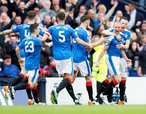 Rangers' Kenny Miller celebrates scoring his sides opening goal during the William Hill Scottish Cup semi-final match at Hampden Park, Glasgow. PRESS ASSOCIATION Photo. Picture date: Sunday April 17, 2016. See PA story SOCCER Rangers. Photo credit should read: Jeff Holmes/PA Wire. EDITORIAL USE ONLY