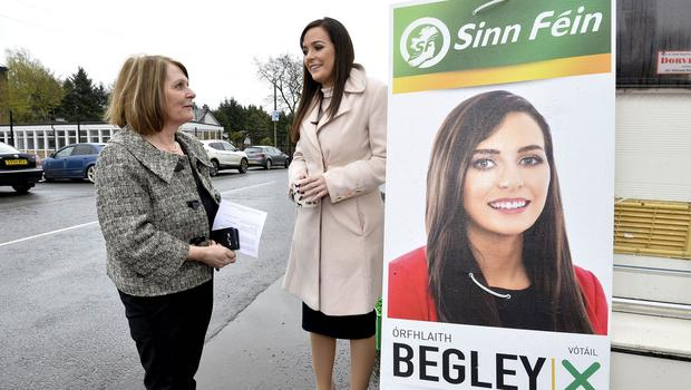 3rd May 2018 Sinn Fein Candidate Órfhlaith Begley pictured with mum Deirdre as she arrives to vote at  Dean Maguirc College, Carrickmore where she is hoping to replace MP Barry McElduff who stepped down  as MP for West Tyrone. Mandatory Credit © Stephen Hamilton/Presseye