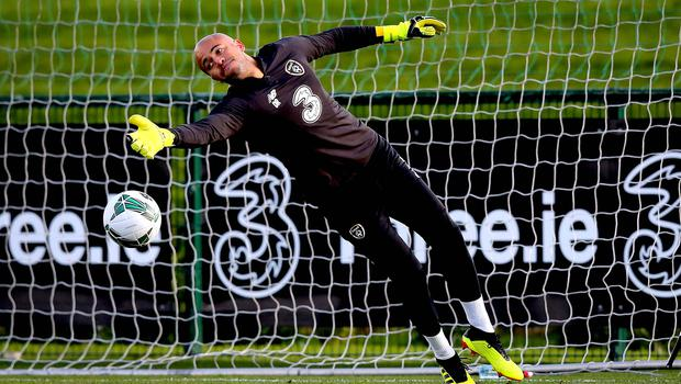Comeback trail: Darren Randolph in Republic of Ireland training after making his return for Middlesbrough on Saturday