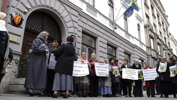 Bosnian women take their protest to the Swedish embassy (Almir Razic/AP)