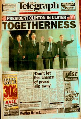 Belfast Telegraph:Page One/Peace Agreement. David Trimble, Bill Clinton, Seamus Mallon and Tony Blair. 3.9.1998