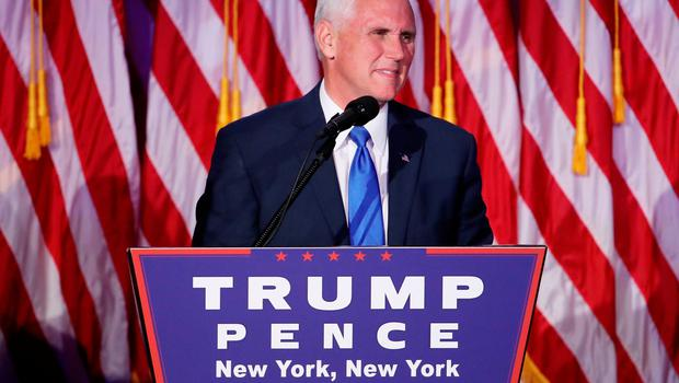 NEW YORK, NY - NOVEMBER 09:  Vice president-elect Mike Pence speaks to supporters at Republican president-elect Donald Trump's election night event at the New York Hilton Midtown in the early morning hours of November 9, 2016 in New York City. Americans went to the polls yerterday to choose between Republican presidential nominee Donald Trump and Democratic presidential nominee Hillary Clinton as they go to the polls to vote for the next president of the United States.  (Photo by Mark Wilson/Getty Images)