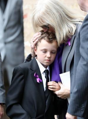 Funeral of Aundrea Bannatyne - Ease Belfast Mission - 21st August 2017 Aundrea's son James with and her mother Lorraine 