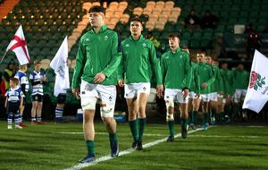 David McCann leads Ireland U20s out for their 39-21 victory in England earlier this year.