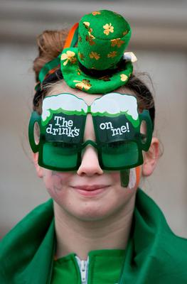 People dressed up at the Mayor of London's St Patrick's Day Parade and Festival in London. Daniel Leal-Olivas/PA Wire.