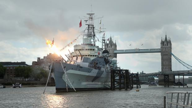 The 6 inch guns on board HMS Belfast in London are fired to mark the 75th anniversary of D-Day (Yui Mok/PA)
