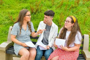 Pacemaker Press Intl 150819  Pupils at Lagan College celebrate their A Level results today.  This year was Lagan's best year ever with students receiving a 10% rise in grades. Pictured is Kate Brown (3 A's), Billy Blackwood (2 A*, 1 A) Dervla Smyth (3 A's) opening her results . Photo David McCormick/Pacemaker Press