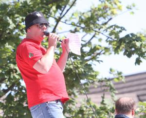Sunday Life News  Michael Cosby from the Pride Of Ardoyne makes a speech as Orange Order hold a protest on the Woodvale Road North Belfast a week on from the 12th of July. Ligoniel Orange Lodge was refused by the parades commission their return parade from the 12th of July demonstratiuons in Belfast City Centre.  Picture Colm O'Reilly 20-07-2013 Sunday Life