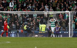 Celtic's Callum McGregor reacts to a missed penalty during the William Hill Scottish Cup semi-final match at Hampden Park, Glasgow. PRESS ASSOCIATION Photo. Picture date: Sunday April 17, 2016. See PA story SOCCER Rangers. Photo credit should read: Danny Lawson/PA Wire. EDITORIAL USE ONLY