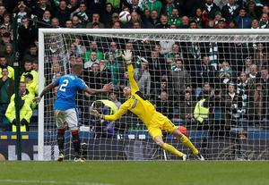 Rangers' James Tavernier misses a penalty during the William Hill Scottish Cup semi-final match at Hampden Park, Glasgow. PRESS ASSOCIATION Photo. Picture date: Sunday April 17, 2016. See PA story SOCCER Rangers. Photo credit should read: Danny Lawson/PA Wire. EDITORIAL USE ONLY