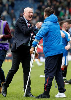 Rangers' manger Mark Warburton celebrates victory after the William Hill Scottish Cup semi-final match at Hampden Park, Glasgow. PRESS ASSOCIATION Photo. Picture date: Sunday April 17, 2016. See PA story SOCCER Rangers. Photo credit should read: Danny Lawson/PA Wire. EDITORIAL USE ONLY