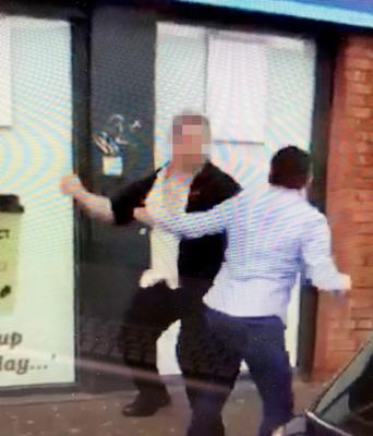 Footage of the incident on the Falls Road, Belfast